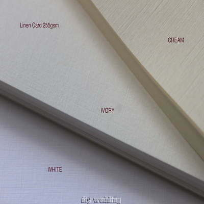 10 A4 sheets of  Linen card (Ivory, Cream or White) 255gsm Printable craft card