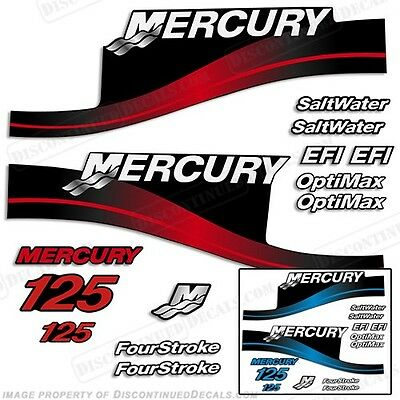 Mercury 125hp Outboard Decal Kit 125 Blue or Red - All Models Available