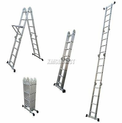 FoxHunter Quality 4.7M Multi Purpose Aluminium Extension Ladder Step Tool Tray