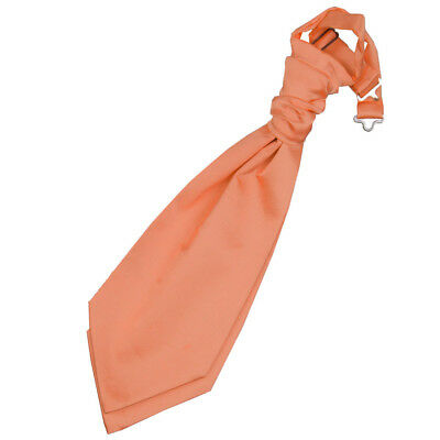 DQT Satin Plain Solid Coral Formal Wedding Pre-Tied Boys Cravat Free Pin