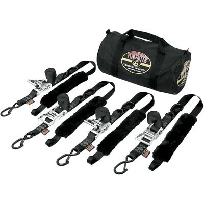 "PowerTye Black Fat Strap Motorcycle ATV Tie Downs 4 1.5"" 1000 Lb Trailer Straps"