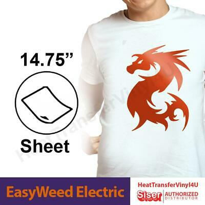 "Heat Transfer Vinyl Siser EasyWeed ELECTRIC 15"" x 1 Foot FAST SHIPPING!!"