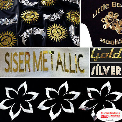 "Heat Transfer Vinyl Siser EasyWeed METALLIC 20""x 1 Foot FAST SHIPPING"