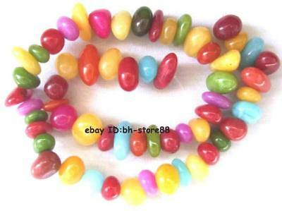 9-16mm multi-colored Jade smooth baroque loose Beads 15