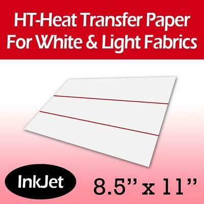 "Inkjet Iron On Transfer Paper for Light Fabrics 8.5"" x 11"" - 10 Sheets"