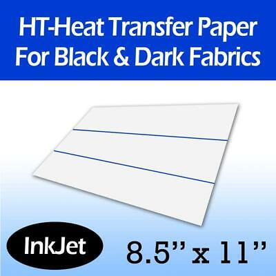 "Inkjet Iron On Transfer Paper for Dark Fabrics 8.5"" x 11"" - 10 Sheets"