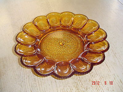 Vintage Indiana Glass Amber Egg Plate - Holds 15 Eggs