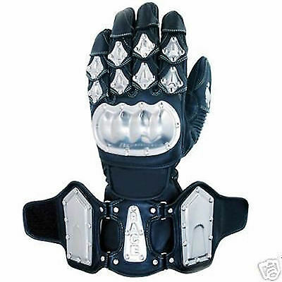 Mens Leather Stainless Steel Motorcycle Motorbike Waterproof Racing Gloves