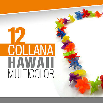 COLLANA HAWAII MULTICOLOR 12 pz festa hawaiana fiori finti floreale party 706130
