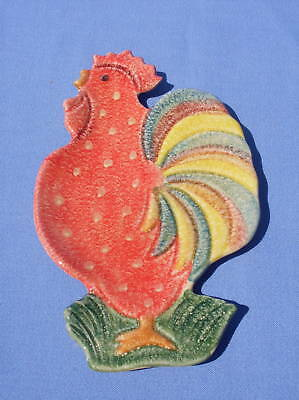 Hand Painted Italian Pottery ROOSTER Dish