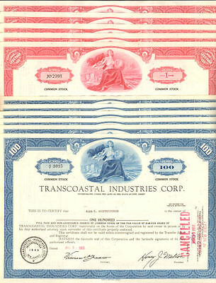 Lot of 10 stock certificates   Transcoastal Industries