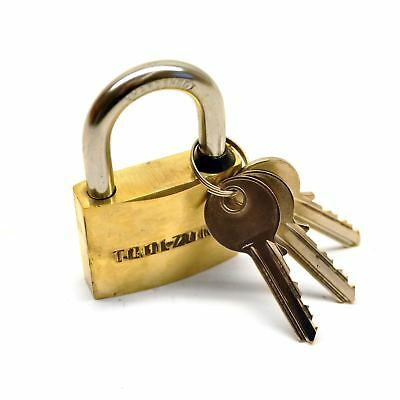 Brass Padlock 50mm Heavy Duty Shed Garage Chain Security Lock TE365