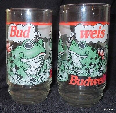Set of 2 Budweiser Frog Glasses Vintage 1995 5.5""