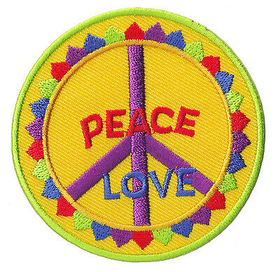 Patch Écusson thermocollant patche Peace & Love Hippies Paix couleur