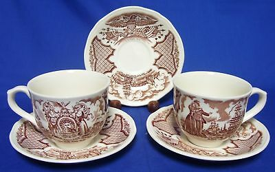 Alfred Meakin Fair Winds Brown 2 Cups 3 Saucers Ships