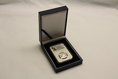 Blue Leatherette Display Box For Certified Pcgs Or Ngc Coin Slab