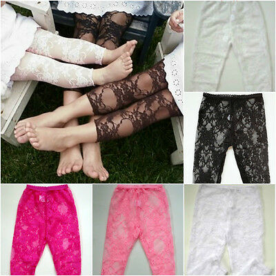 2 PAIRS - Baby Toddlers Childrens Girls Lace Legging