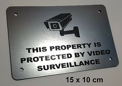 SILVER SECURITY SIGN - VIDEO SURVEILLANCE, CCTV- small