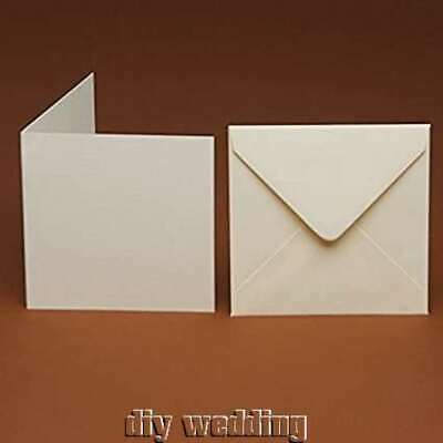 10 x Small Square Cards & Envelopes ivory, cream, white,hammer, linen, smooth