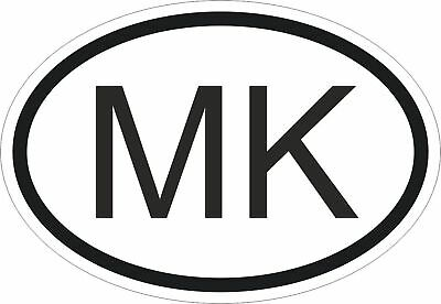 MK Macedonia Country Code Oval Sticker Decal Vinyl Macedonian euro