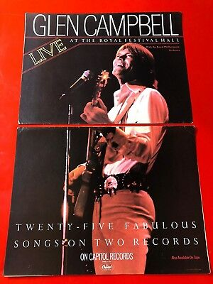 "BIG 14x22 GLEN CAMPBELL ""LIVE AT THE ROYAL FESTIVAL HALL"" LP ALBUM CD PROMO AD"