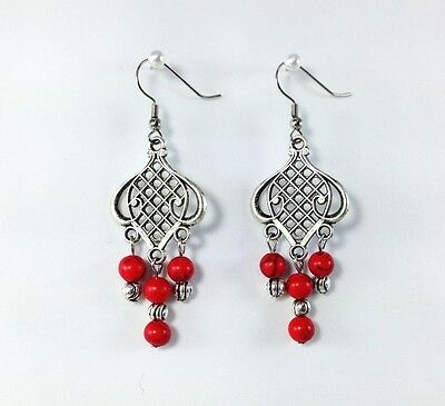 Gorgeous Antique Tibetan Silver  Red Turquoise Gemstone Beads Dangle Earrings