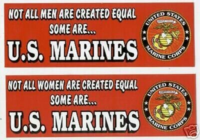 Us Marines Not All Men Women Are Created Equal Bumper Sticker Wm Pin Up Decal