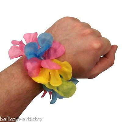 5-PAIRS Hawaiian Fancy Dress Party Flower Lei Summer Wristband Garland BRACELET