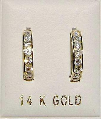 14K Solid Gold Large Huggy Earrings w/Dias-Free Shipping!