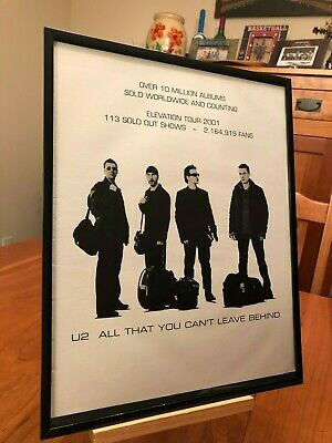 "Big 11X14 Framed U2 ""elevation Tour"" Lp Cd Promo Ad + ""achtung Baby Covered"" Cd"
