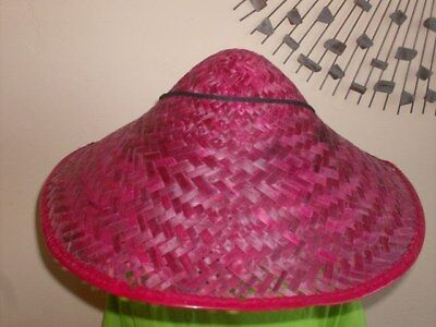 Wide Brim Asian Chinese Straw COOLIE HAT costume RED