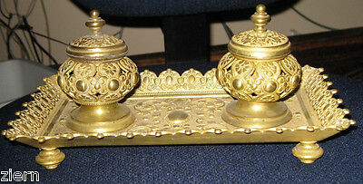 Antique c1880 French Gilt Bronze Double Ink Well