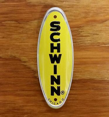Bicycle Plate Head Badge Schwinn Approved Yellow With Black Letter