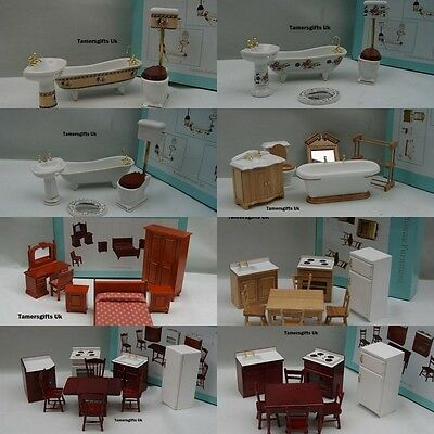Alberon Dolls House Bathroom Bedroom Kitchen Furniture