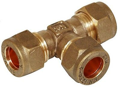 BRASS equal TEE imperial compression plumbing fitting 3/16 1/4 5/16 3/8 1/2