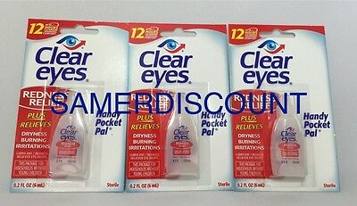 3 packs of Clear Eyes Redness Relief  0.2 FL,OZ ( 6 ml) 12 HRS ,RELIEF  EXP 2022