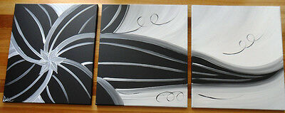 Original Abstract Canvas Painting 3 Black White Flower