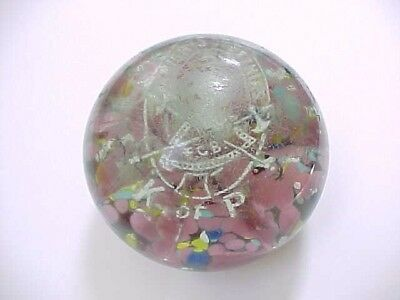 Rare Antique KNIGHTS  OF PYTHIAS Art Glass Paperweight