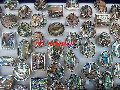 wholesale mixed lots 25 Abalone shell&18KGP Charm Rings