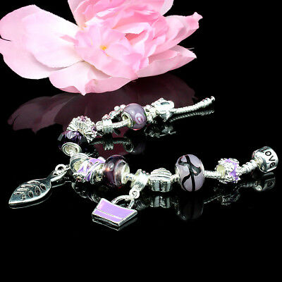 13X Charms Purple Fashion Hot Bracelet With Crystal Heart Beads For Women Girl