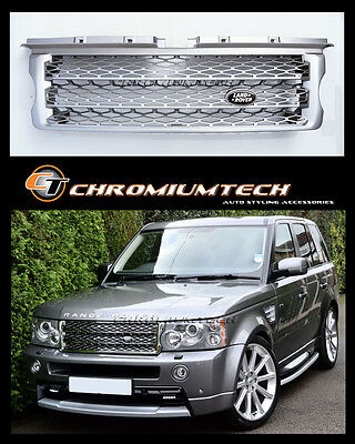 05-09 Range Rover SPORT L320 SILVER Grille NEW 2010 Look w/Free Land Rover Badge
