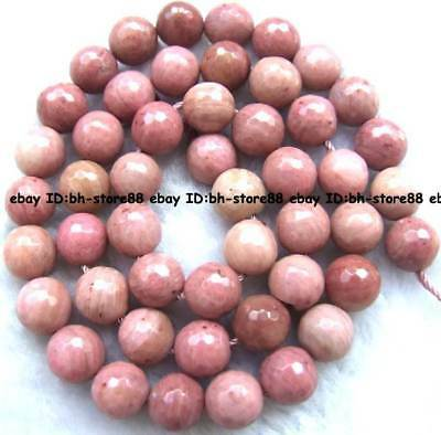 Cut 8mm 10mm Natural Rhodonite Round faced Gemstone Beads 15''