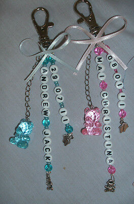 Pram Changing Bag Charm Baby Personalised Name and DOB