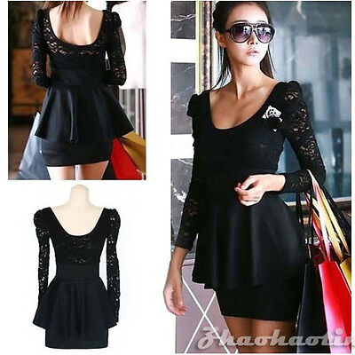 2015 Women Ladies Sexy Black Lace Backless Clubwear Cocktail Party Mini Dress