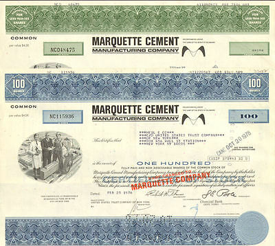 Marquette Cement Manufacturing Co. 2 stock certificates