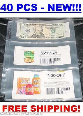 3 POCKETS Coupon Sleeves Pages Currency size 40/set NEW