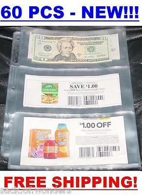 3 POCKETS Coupon Sleeves Pages Currency size 60/set NEW