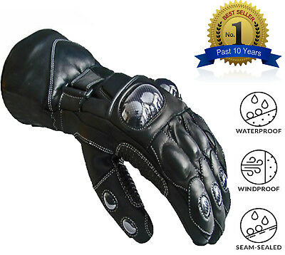 Leather Motorcycle Gloves Motorbike Waterproof Thermal Biker Windproof Winter