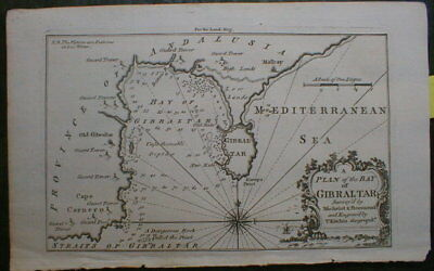 Gibraltar Map 1758 Andalusia Spain