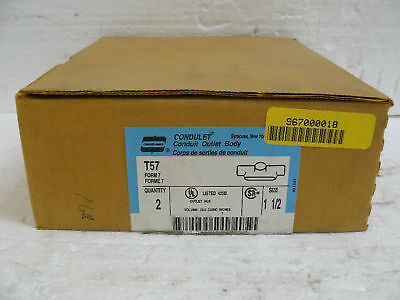 """Two New Crouse Hinds Tb57 Conduit Outlet Body 1 1/2"""""""